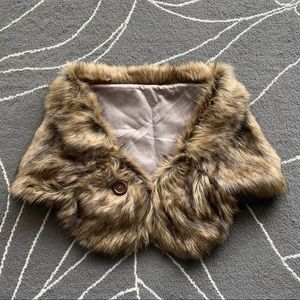 Jackets & Blazers - Brown faux fur wedding shawl
